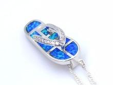 Ocean Blue Opal Flip Flops Shaped Pendant Necklace