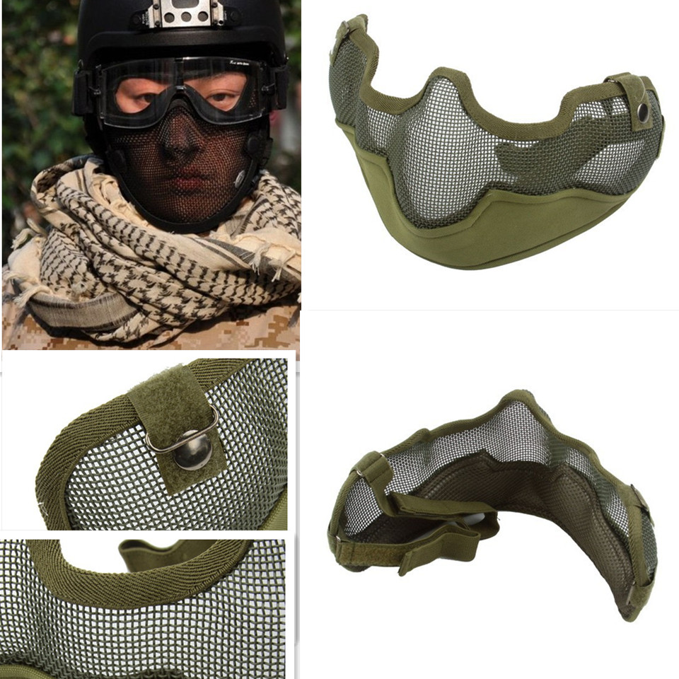 fd0c8aab46 High Quality Army Green  BLACK Tactical TMC Metal Strike Steel Wire Half  Face Mesh Airsoft Guardian Protective Mask-in Party Masks from Home    Garden on ...