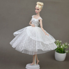 Pure White Doll Dresses Elegant Lady Evening Dress Clothes for Barbie Doll For 1/6 BJD Doll House Gift Doll Accessories