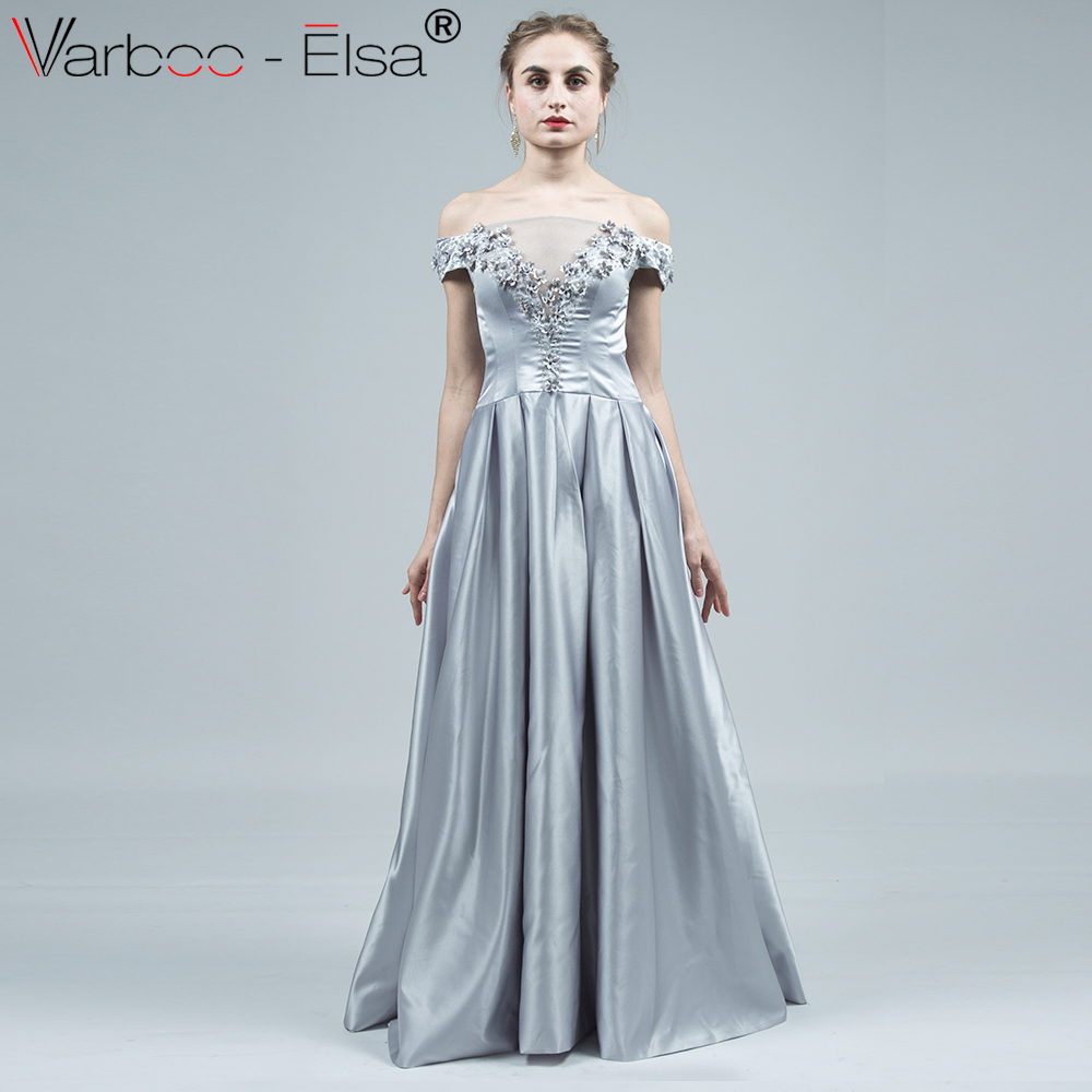 VARBOO_ELSA Evening Dress Long 2018 Silver Luxury Elegant Satin Boat ...