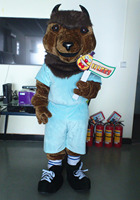 ohlees Real Pictures Team Sport Mascot MARCO VAN BISON Bull Mascots Costume plush Adult Size Halloween party Costumes