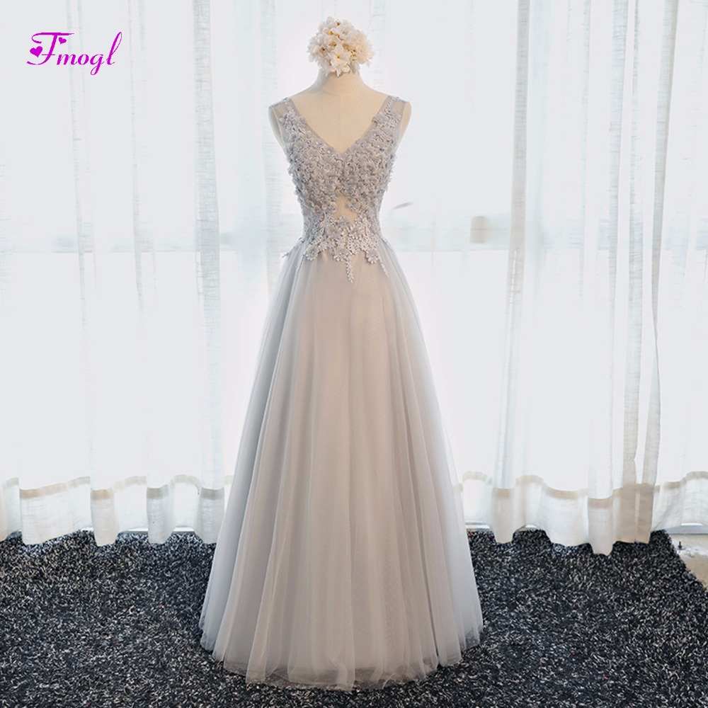 Fmogl Robe De Soiree Appliques Beaded A-Line   Prom     Dresses   2019 V-neck Lace Up Evening Gown Formal Party   Dress   Vestido de Festa