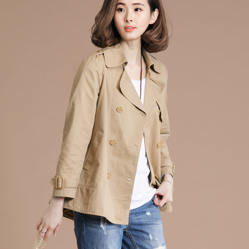 Spring Autumn   Trench   Coat Femme 2019 New Korean Loose Large Size Lapel Double-Breasted Women Solid Color Short Windbreaker LQ671