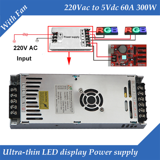 Special LED Display Power Supply With Fan Ultra-thin 220VAC Input, 5V 60A 300W Output Switching Power Supply
