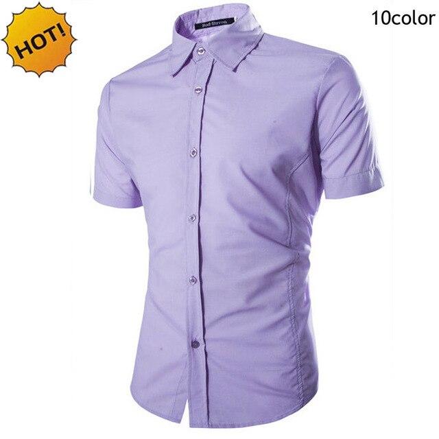New2016 Летняя Мода Партия Англии Человек Сплошной Цвет Рубашка с короткими рукавами Смокинг Рубашки Мужчины Марка Одежды Camisa Masculina