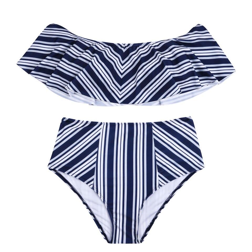 BANDEA High Waist Bikini Set Female Swimwear Swimsuit Sexy Cut Out Bathing Suit Retro Stripe Biquini Women Bandage Swimming Suit