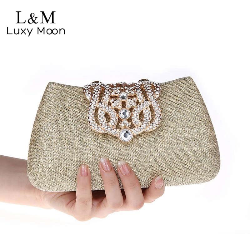 2017 Luxury Women Evening Clutch Diamond Crown Rhinestone Hand Bag Ladies Dressed Banquet Party Purse bolso
