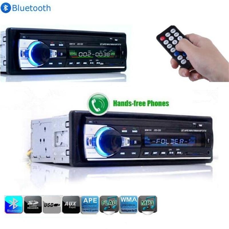 цена на Hot Car Radio Stereo Auto Audio In-dash Single Din FM Receiver 12V Bluetooth Aux-In Input Receiver USB MP3 MMC WMA Radio Player