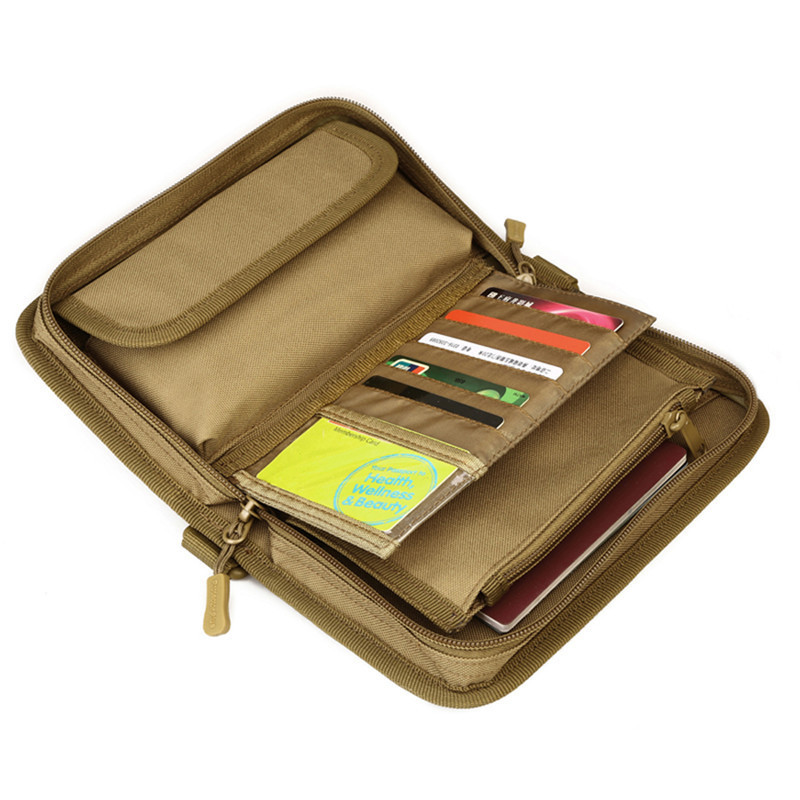 Tactical Wallet Card Holder Outdoor Travel Passport 6inch Cellphone Double-folded Money Pouch Holster Handbag Card Organizer