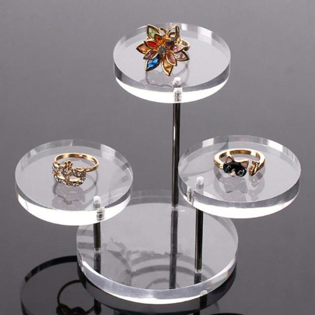 3 Layer Clear Round Button Acrylic Jewelry Display Stand Earring