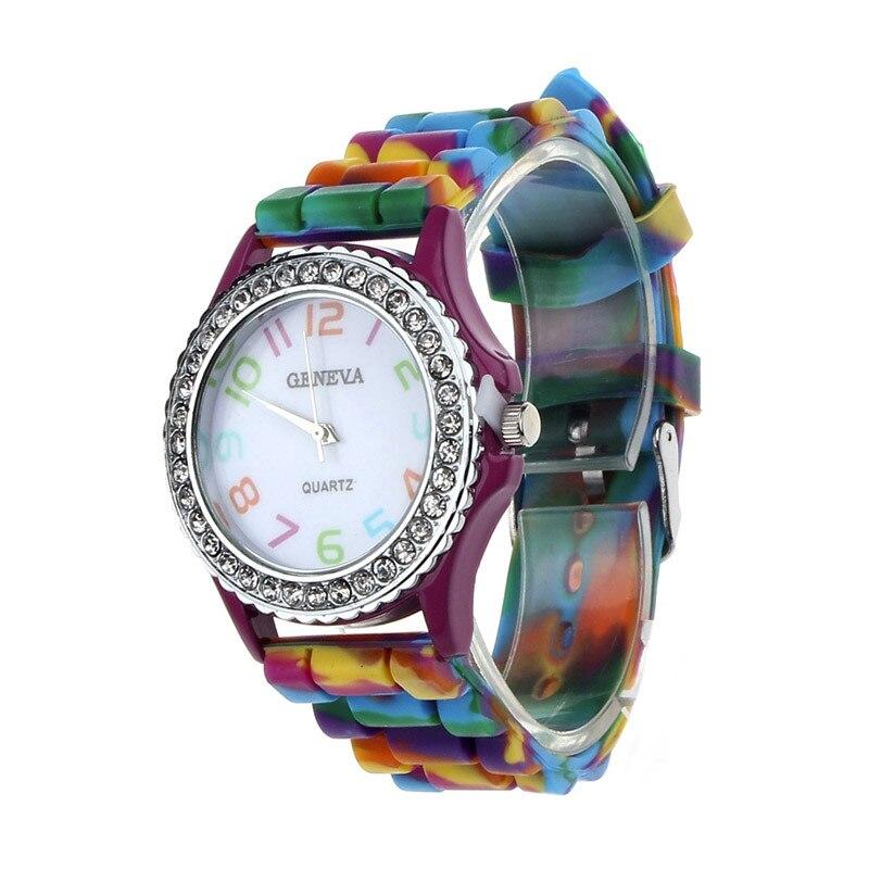 Часы Для женщин часы Многоцветный Женева Марка Силиконовые Кристалл Bling  аналоговые кварцевые часы наручные часы Уникальный eab570abb69c3