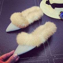 Real Rabbit Fur Slippers Winter Casual Shoes Pointed Toe Womens Sandals Sandalia Feminina Cotton Padded Female