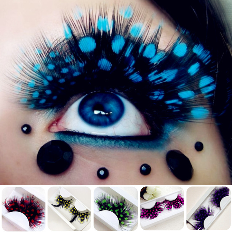 1 Pair Fashion Colors Cosplay Halloween Feather False Eyelashes Handmade Party Exaggerated