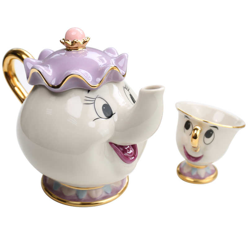 Asli Kartun Kecantikan dan Binatang Teh Set Mrs Potts Teko Chip Piala Pot Set Kopi Ketel Birthday Xmas hadiah