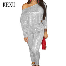 KEXU Women Fashion Bling Sequined Jumpsuits Long Sleeve Skinny Bodysuits Clubwear Party Two Pieces Sets Rompers Salopette Femme