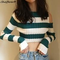Chafferer Women Expose Navel Slim Stripe Sweater Crop Top 2017 Autumn Off One Shoulder Sexy Short