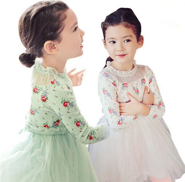 New Cute Doll Collar Dress For Girls Long-sleeved Dresses Children Holiday Party Clothing Bow Princess Lace Set Free Shipping ems dhl free shipping wholesales new arrival baby holiday pettiskirt tutu skirt bow party 2pc set holiday clothing costume
