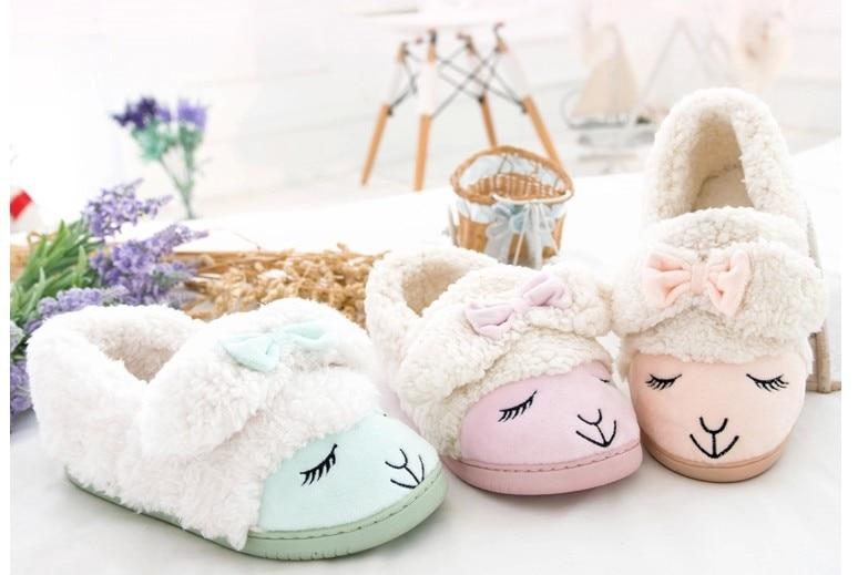 Kawaii Kleine Schafe Candy Farbe Plüsch Hausschuhe Winter Hausschuhe Thermische Hausschuhe Einzelhandel Kinder Hausschuhe