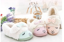 Kawaii Little Sheep Candy Color Plush Home Slippers Winter Slippers Thermal Slippers Retail Children Slippers