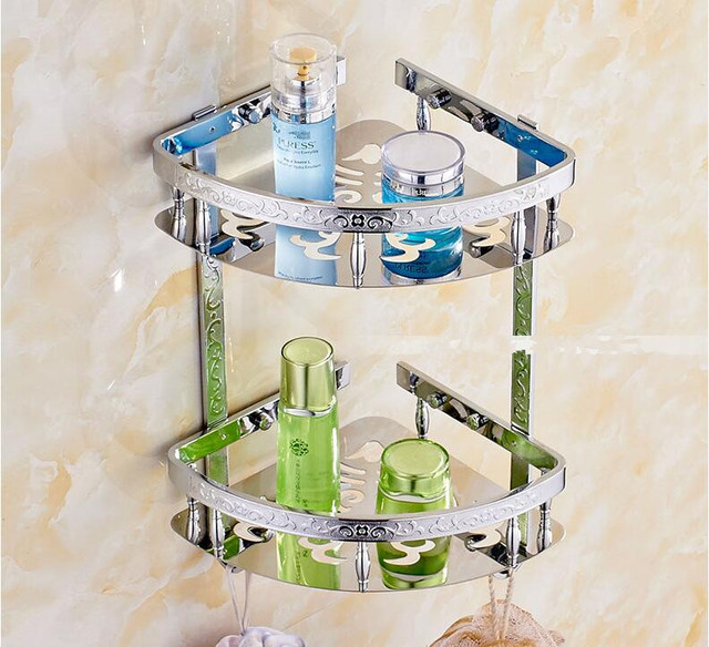 Luxury Stainless Steel Art Carved Gold Bathroom Shelves Shampoo Holder Corner  Bath Basket Bathroom Accessories Bath