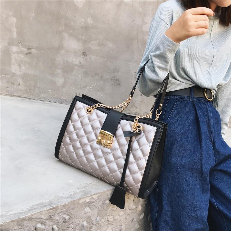 Вместительные женские сумки через плечо из искусственной кожи на цепочке, мессенджеры для женщин, модная дизайнерская сумочка на плечо