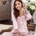 Con estilo de Las Señoras de Seda ropa de Dormir Pijamas Para Mujeres Chándal Set Vestir Pijamas En Casa 4 Colores L-XXXL