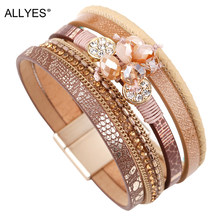 ALLYES Women Leather Bracelet Femme Bohemian Multi-layer Crystal Beads Vintage Female Wrap Bracelets & Bangles Jewelry(China)