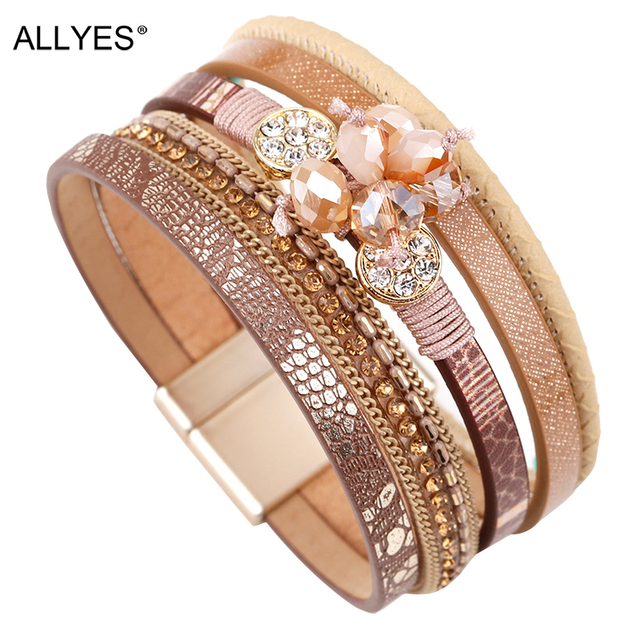 ALLYES Women Leather Bracelet Femme Bohemian Multi-layer Crystal Beads Vintage Female Wrap Bracelets & Bangles Jewelry