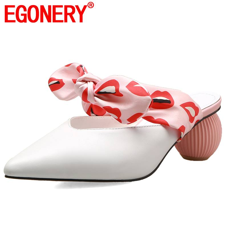 EGONERY genuine cow leather pointed toe woman slippers summer sexy lipstick lips polka dot 5cm med