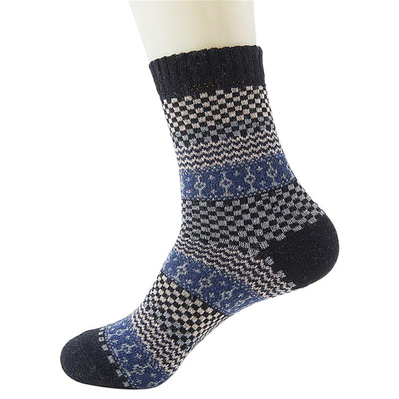 2020 Winter Warm Mens Vintage Ethnic Woolen Warm Long Socks Checked Striped Geometric Ribbed Knit Men Socks