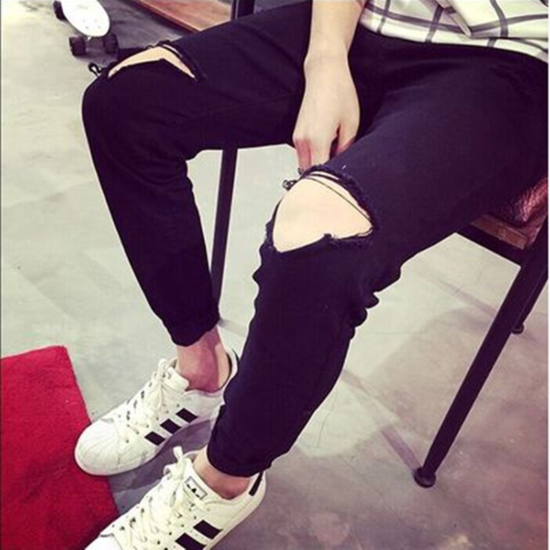 Fashion 2018 Summer Denim teenagers Ripped Hole knee Pants Men Cowboy Leg Black Slim Fit Pencil Street City Beggar Trousers