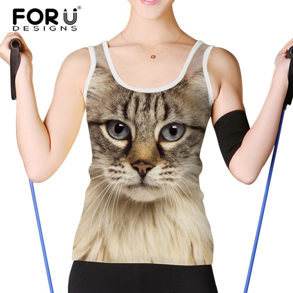 FORUDESIGNS Women Tank Tops 3D Black Cat Dog Printed Ladies Short Tops Sexy Vest Summer Casual Women Clothing Tanks Cropped Tops