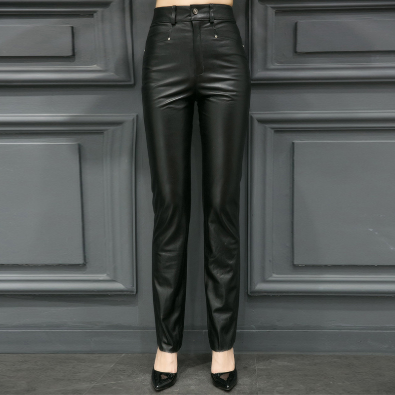 Plus Size S 5XL Women Sexy Real Leather Skinny Pants Office Lady Trousers High Waist Pencil