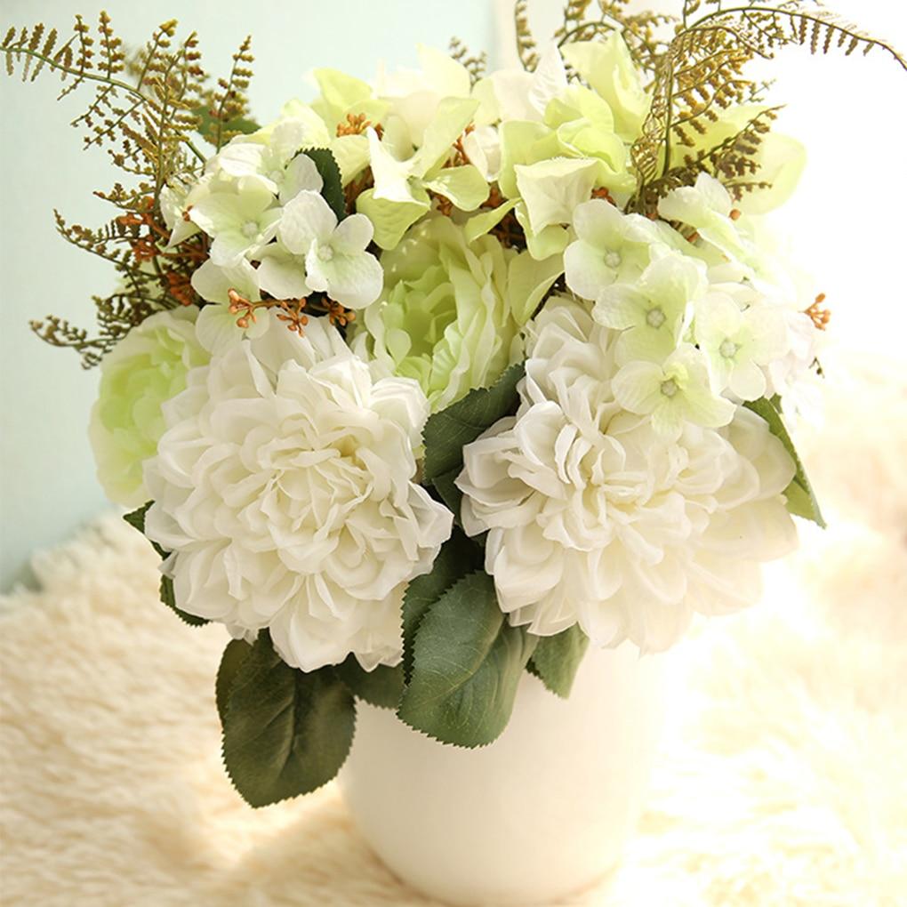 Artificial Hydrangea Rose Dahlia Flower Bouquet for Home Party ...