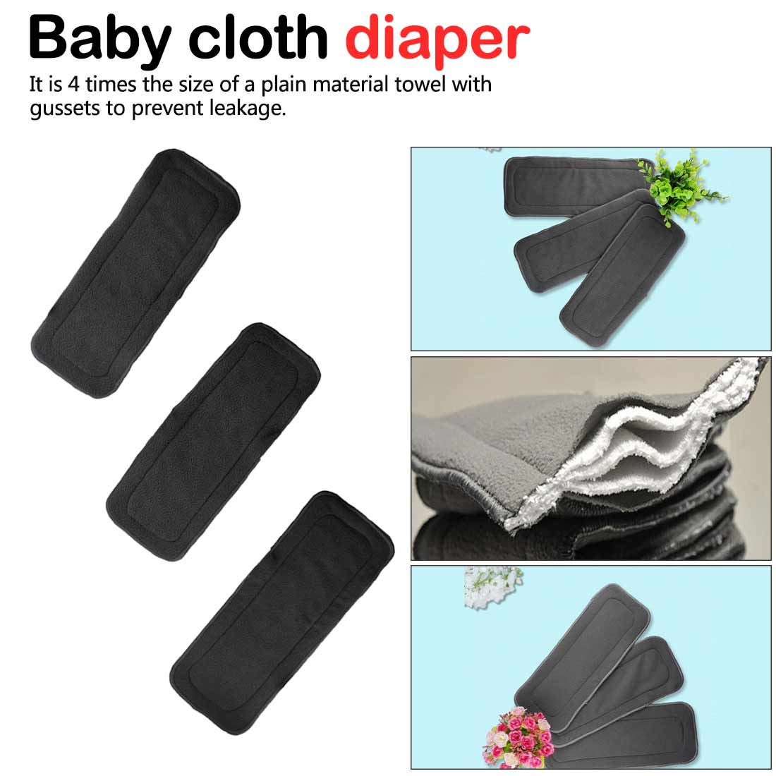 Washable Baby Diaper 4 Layers Bamboo Charcoal Cloth Nappy Liner Super Absorbent Reusable Diaper Insert Pad