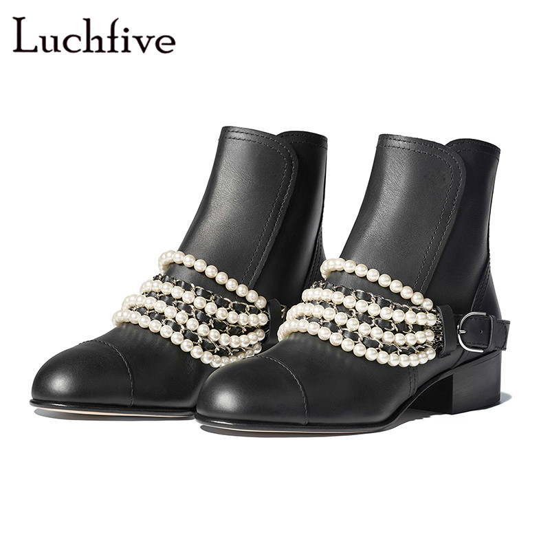 Fashion pearls chain round toe women booties genuine leather square heels female shoes black white back zipper botas mujer free shipping imitation pearls chain flatback resin material half pearls chain many styles to choose one roll per lot