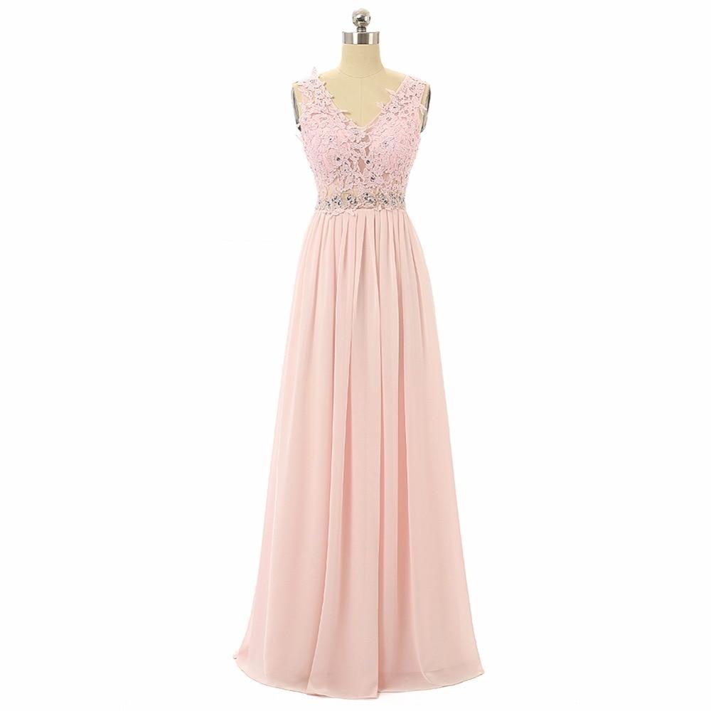 Real Pics Lace Pink Colour In Stock Bridesmaid Dress V Chiffon Long ...