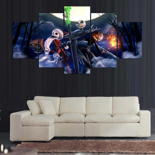 large framed kids bedroom modern indoor nightmare before christmas print canvas decoration 5 pieces