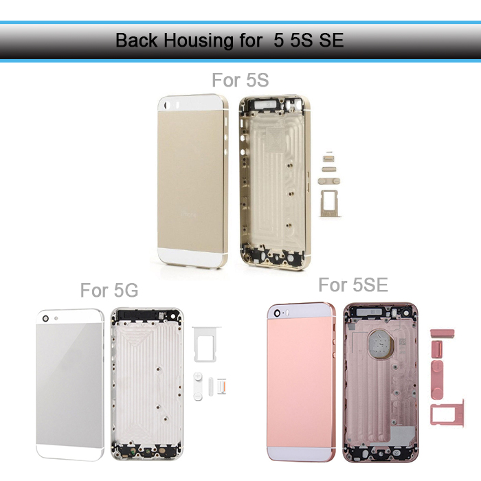 Back Housing for iPhone 5 5S Back Battery Cover Housing Case for iPhone SE Middle Chassis Body Replacement Camera Lens + IMEI