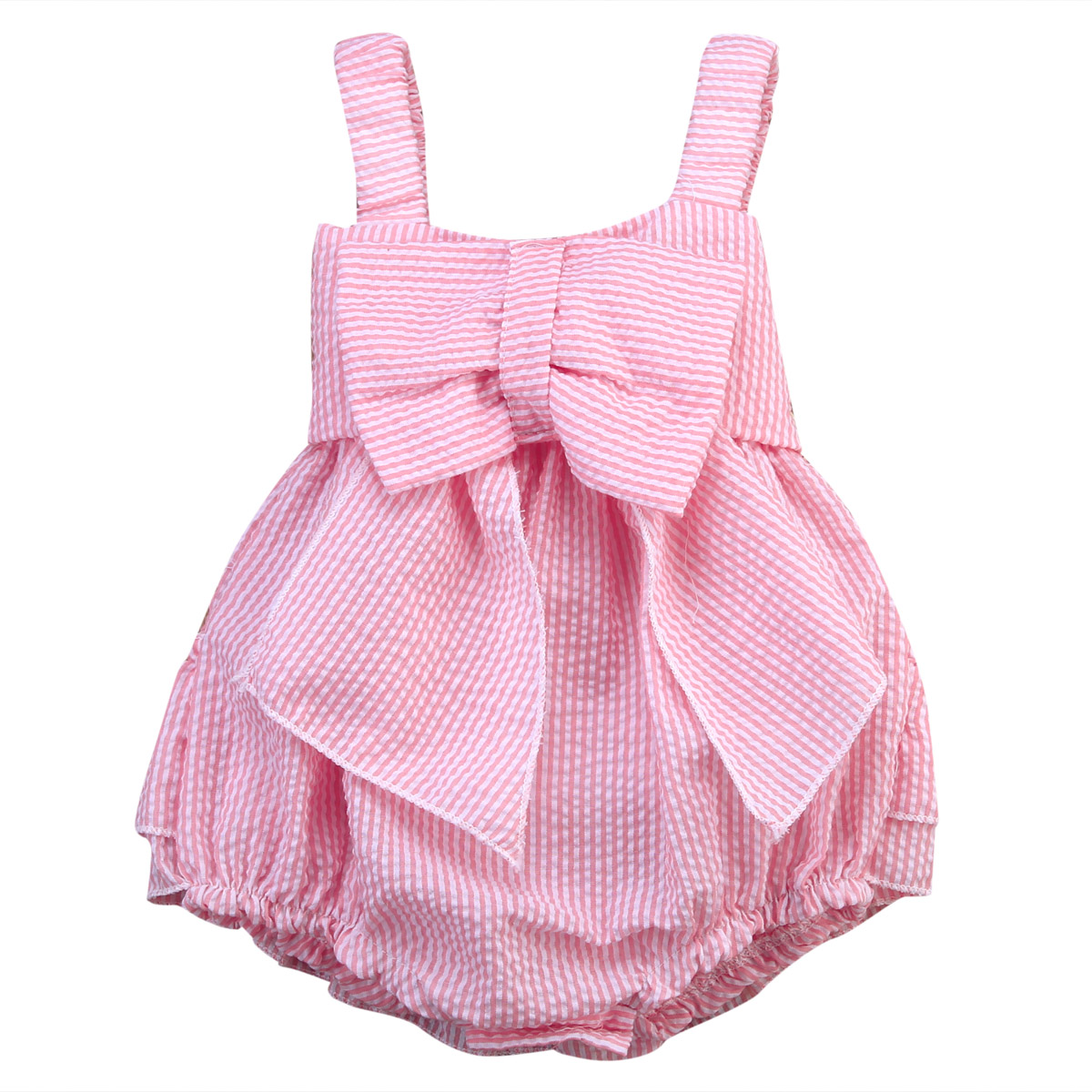 Infant Baby Girl Bowknot Sleeveless   Romper   Striped Bow Tie Jumpsuit Outfits Clothes One-Piece Pink