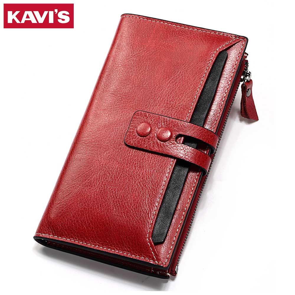 KAVIS Wallet Female Genuine Leather Women Purse Clutch Coin Purse Long Walet Portomonee Clamp for Money Bag Handy Lady and Girls fashion girl change clasp purse money coin purse portable multifunction long female clutch travel wallet portefeuille femme cuir