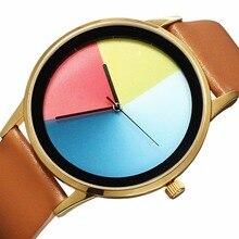 AMUDA 2018 нейтральный радуга часы кожаный ремешок Повседневное часы Для женщин Мода Для мужчин тренд Кварцевые наручные часы Relogio Masculino