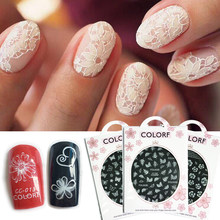 1pcs Nail Art Stickers White Flowers Lace 3D Wraps Decal Self Adhesive Charm Butterfly Manicure Slider Decor Tips JICC001-027(China)