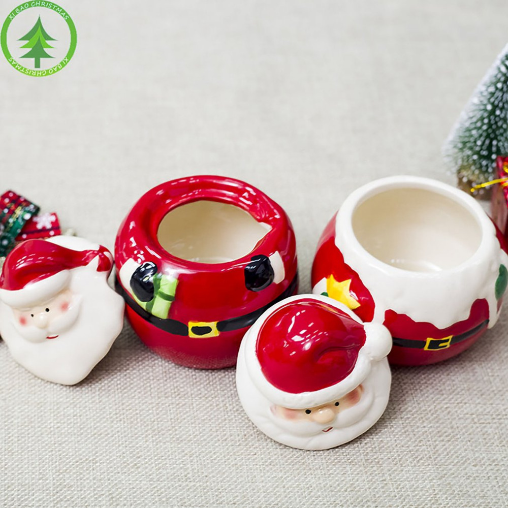 Seasoning-Box Kitchen-Decoration Ceramic Spice-Jar Christmas-Ornament Creative Santa