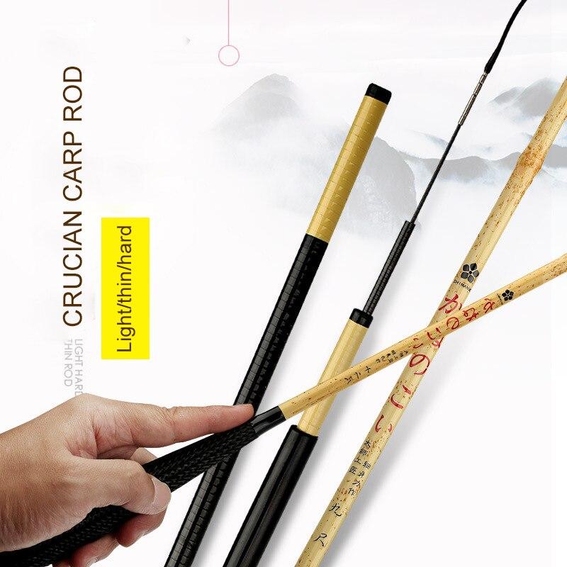 2018 Anzhenji Nouveau Ultra-léger Carbone Merde Canne À Pêche 37 Tune bambou Couleur Main Tige 2.7 m 4.5 m 5.4 m 6.3 m Flux De Pêche vitesse