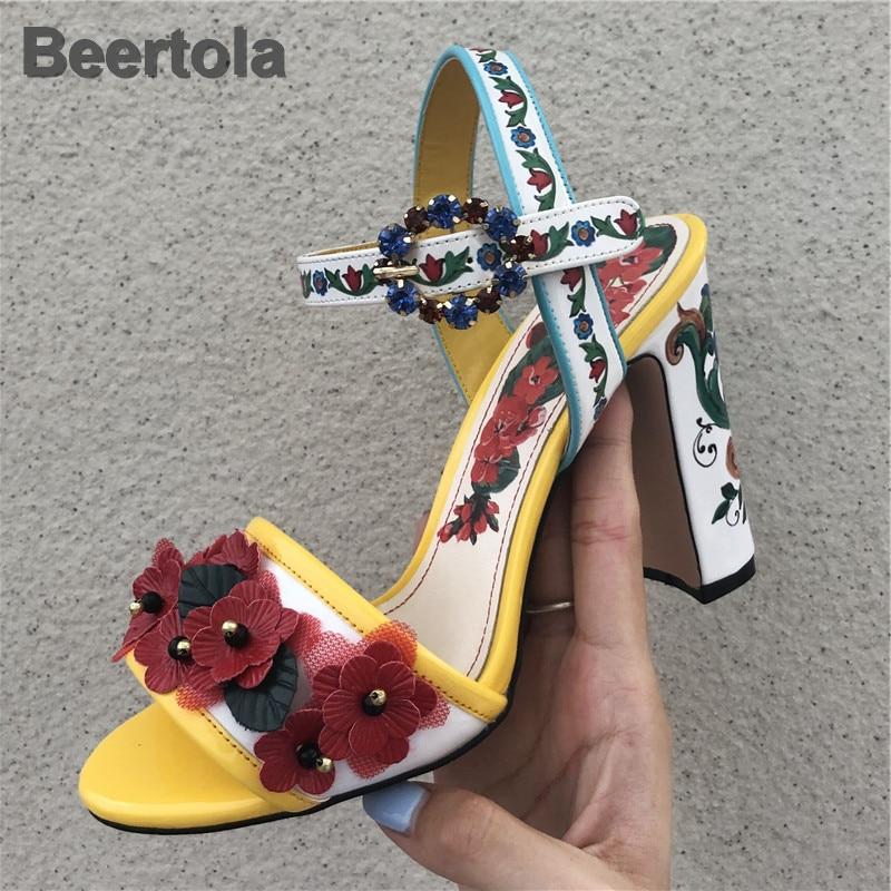 Red Sandals Women Flower Beading Shoes Summer Rhinestone Buckle Strap Peep Toe Shoes Thick High Heel Elegant Crystal Sandalias