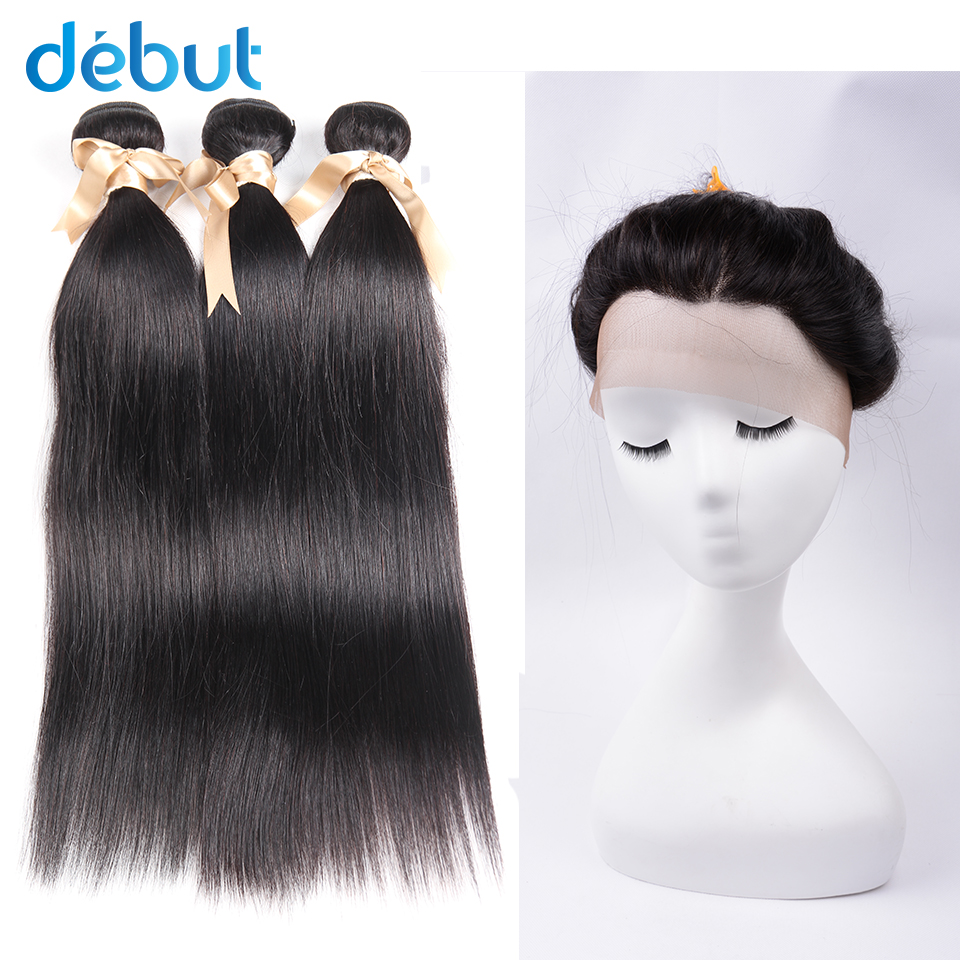 DEBUT Hair Brazilian Straight Hair Bundles With Closure Human Hair Weave Bundles With 360 Lace Frontal Closure Hair Extension