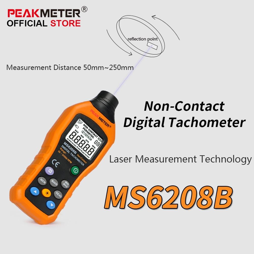 все цены на  Official PEAKMETER MS6208B Non-Contact Digital Tachometer 50~99999RPM max Speed Meter Rotation Tester  онлайн