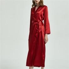 Jedwabne szaty dla kobiet seksowna bielizna satynowa szata Kimono V neck szlafrok druhna szlafroki długie nocne szlafroki