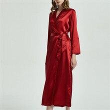 ผ้าไหมสำหรับผู้หญิงชุดชั้นในเซ็กซี่ซาติน Robe Kimono V Neck เสื้อคลุมอาบน้ำเพื่อนเจ้าสาว Dressing Gowns ยาวชุดนอนเสื้อคลุมอาบน้ำ